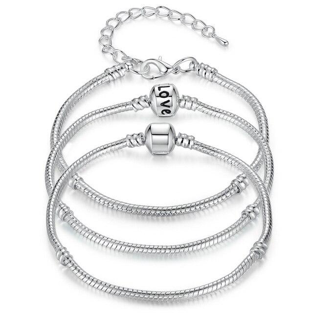 BAMOER 5 Style Silver Color LOVE Snake Chain Bracelet & Bangle 16CM-21CM Pulseras Lobster PA1104