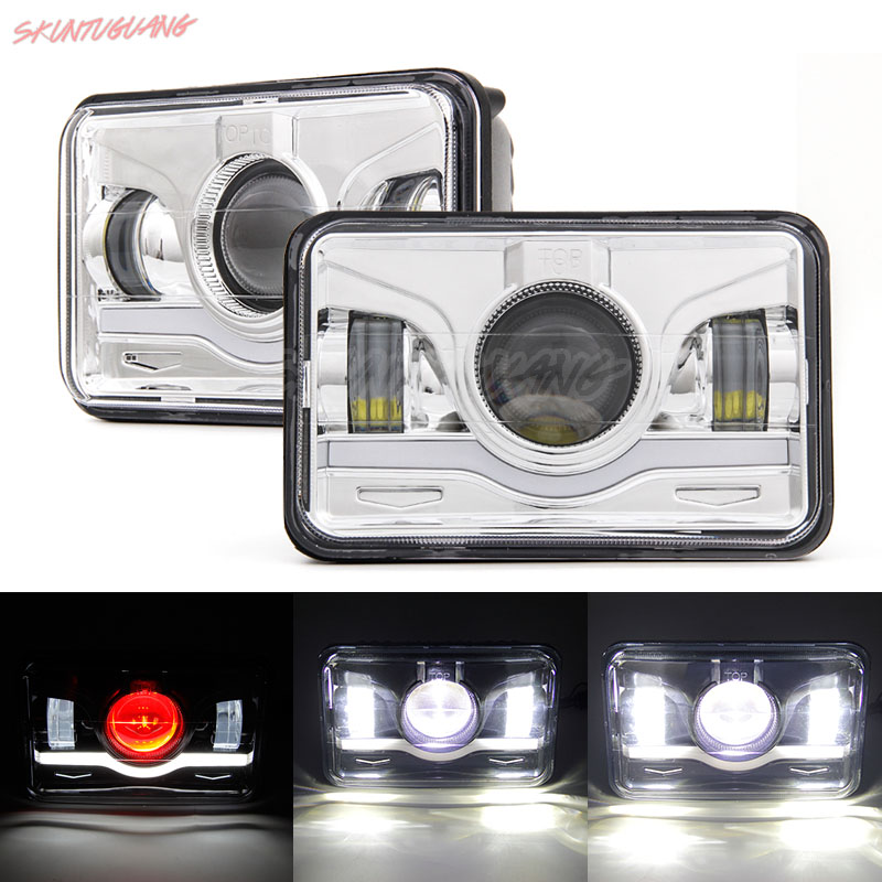 2pcs 4x6 LED Square Headlight Trucklight 45w DRL Angel Eyes Sealed Replacement Headlamp Offroad Driving Light