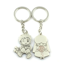 Fashion 1 Pair Couple I LOVE YOU Letter Keychain Heart Key Ring Silver Color Lovers Love Chain  Valentines Day gift