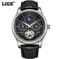 Men Watch LIGE Top Brand Luxury Moon Phase Genuine Leather Automatic Wristwatch Man Business Black Clock