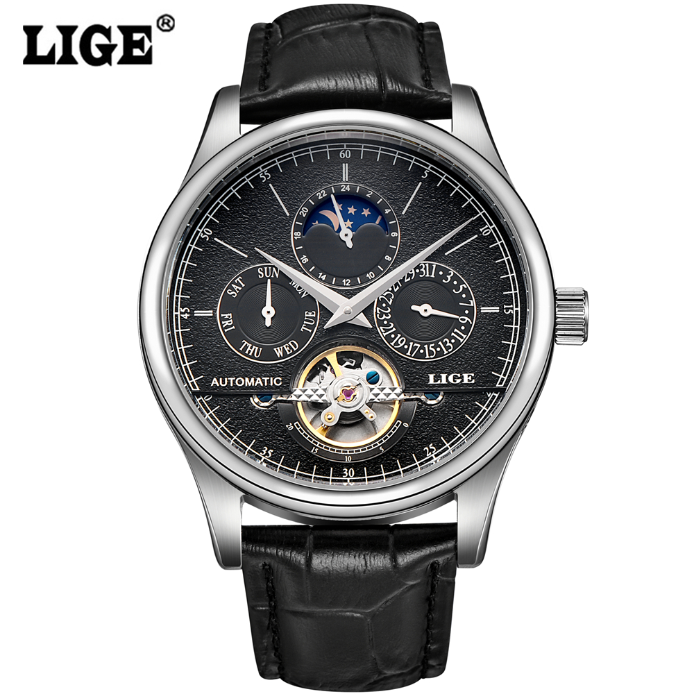 Men Watch LIGE Top Brand Luxury Moon Phase Genuine Leather Automatic wristwatch Man Business black Clock relogio masculino 2016 ultra luxury 2 3 5 modes german motor watch winder white color wooden black pu leater inside automatic watch winder
