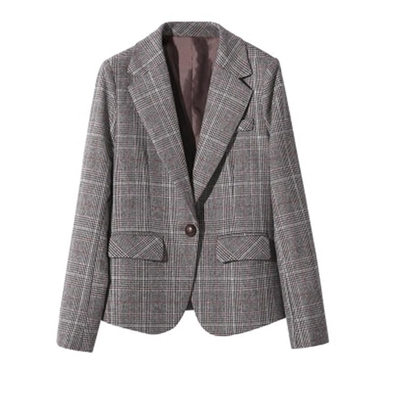 3fb8dd2a43204 Spring Women Plaid Blazers and Jackets Suit Ladies Long Sleeve Work Wear  Blazer Plus Size Casual Female Outerwear Office Coat 41