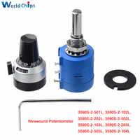 Potenciómetro multivuelta de precisión serie 3590S-2 3590S resistencia ajustable de 10 anillos + Dial de conteo de 10 vueltas perilla rotativa de 6,35mm