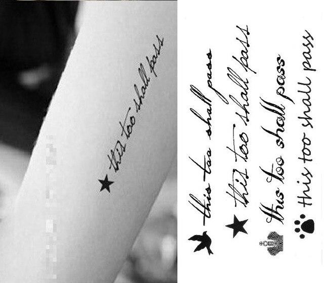Tatuagem adesivos Frase Ingls descartvel prova d gua pequena