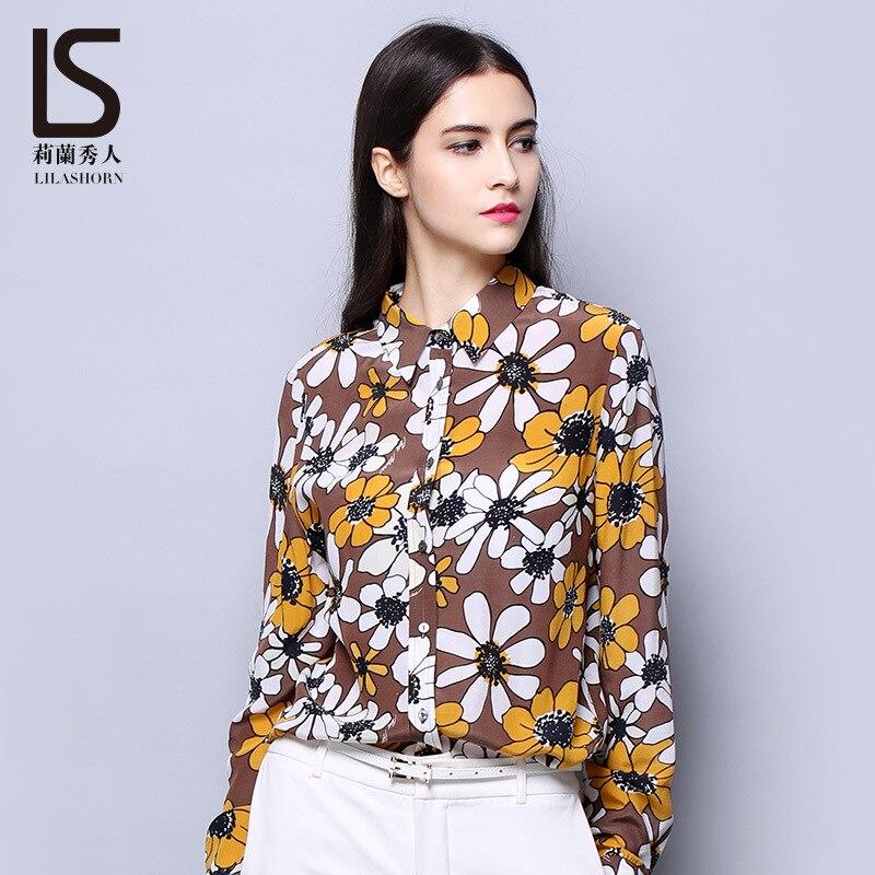 2018 nouveau automne femmes haut de gamme 100% vraie chemise en soie Blouse impression florale à manches longues en soie Blouse hauts