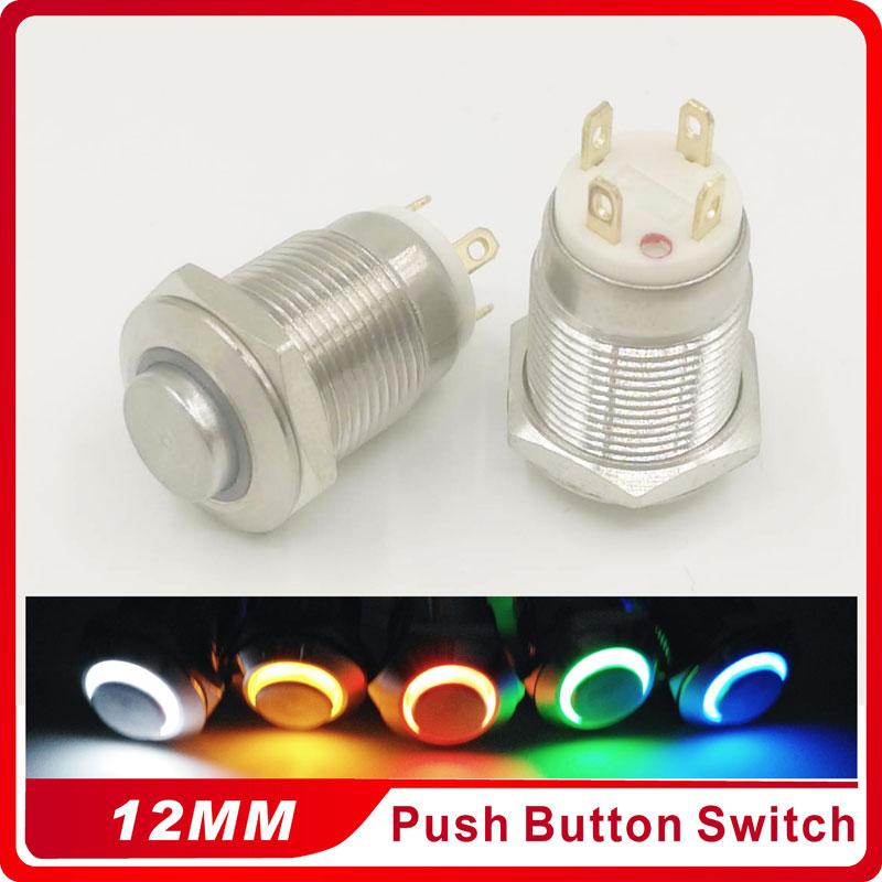 1PC 12MM with LED 3V 5V 6V 12V 24V 220V High Round Metal Push Button Switch Momentary Auto Reset Waterproof Illuminated Switch 1 x 16mm od led ring illuminated latching push button switch 2no 2nc