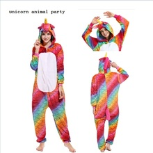 Cosplay halloween Kigurumi Fish scales unicorns onesies zipper color Adult Unisex Hooded Winter Flannel Animal Homewear