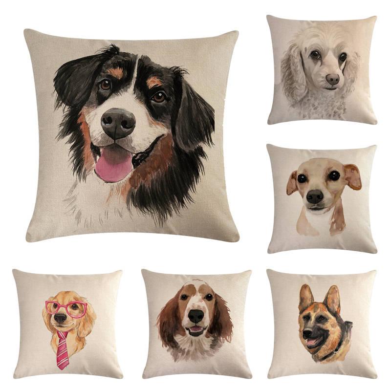 45cm 45cm pet dog design linen cotton throw pillow covers couch cushion cover home decorative pillows