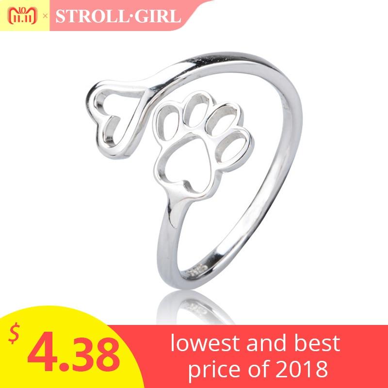 все цены на Labrador retriever ring Puppy Dog Paw Open dog pet paw fashion jewelry accessories 925 sterling silver rings for women girls онлайн