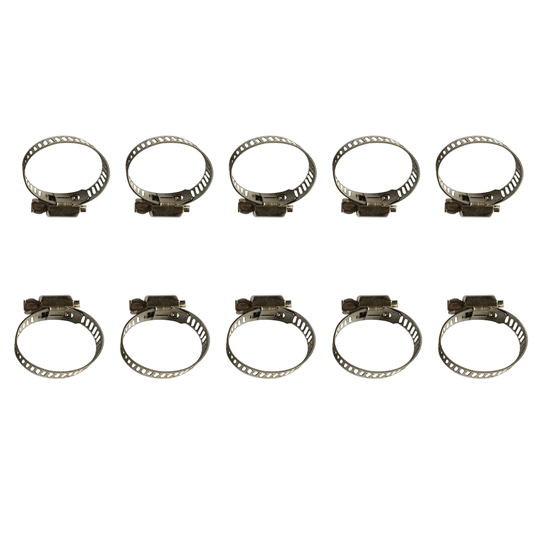 10Pcs Adjustable Stainless Steel Drive Hose Clamp Tri Clamp Fuel Line Pipe Worm Gear Clip Tube Fasterner Spring Clip 10pcs hose clamp double ears o clips clamp worm drive fuel water hose pipe clamps clips