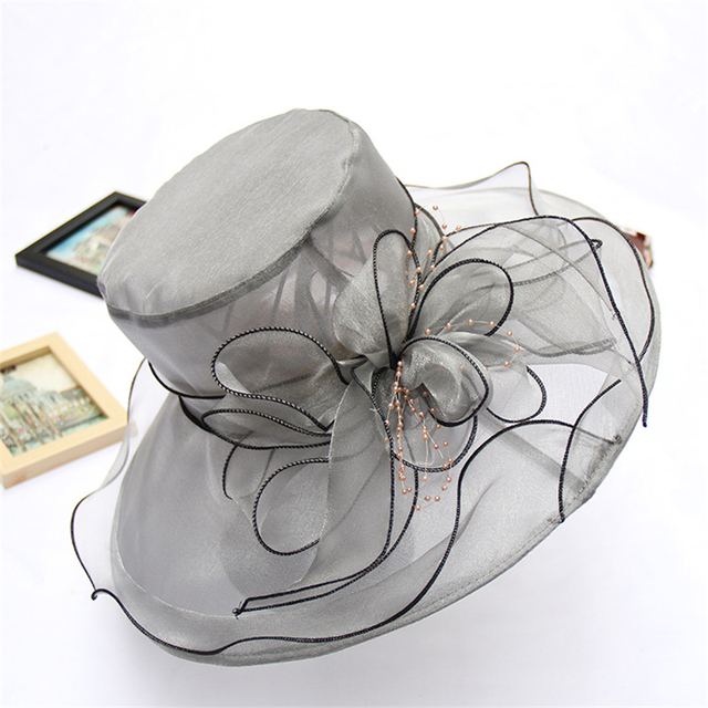 c9bfcc5759e6 Women's Church Derby Dress Fascinator Bridal Cap British Tea Party Wedding  Hat Formal Kentucky Derby Hats Wide Brim Sunhat