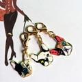 5PCS/LOT Pet Dog Keychain on Bag Bulldog Pendants  DIY Accessories Gifts Factory Wholesale Gold Plated Pet Dog Bag Charm