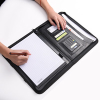 Portable Leather A4 Clipboard Document Folder Portfolio Multi function Paper Organizer Storage Bag Writing Pads with Calculator