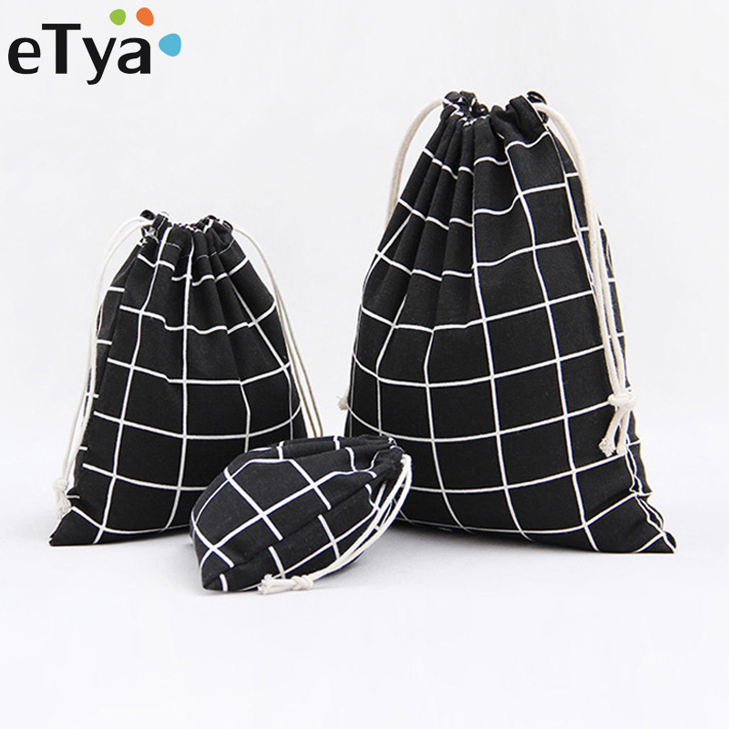 ETya Travel Cosmetic Bag Plaid Printing Women Makeup Case Cosmetics Drawstring Pouch Fashion Cotton Line Storage Toiletry Bag