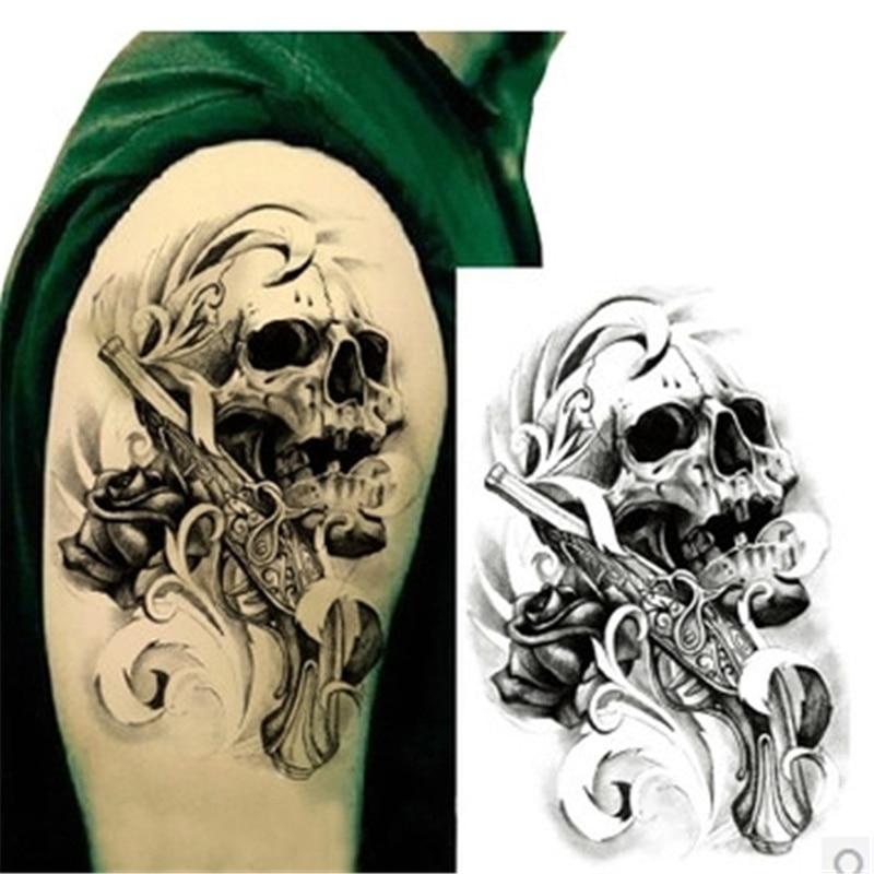 1Pcs Metallic Tattoo for Men Cool Skull Head Guns Stickers On The Body Henna Tattoo Flash Waterproof Temporary Tattoo Stickers