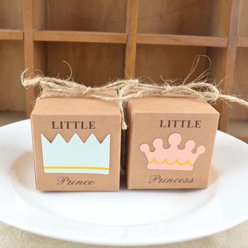 50pcs European Little Prince Princess Square Kraft Paper Candy Boxes Party Gift Box With Hemp Ropes Wedding Favors Baby Shower