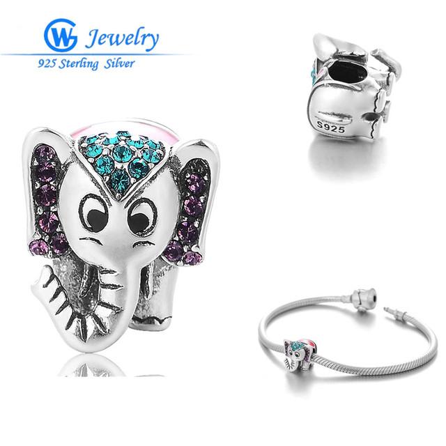 Elefante de los encantos de plata de ley 925 colgantes de cristal charms adapta joyería de marca original para las mujeres joyería fina gw x351h20