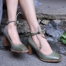 2019 Vintage mujeres bombas clásico de cuero zapatos de tacón alto zapatos de fiesta zapatos de vestido de boda verano Sandalias Zapatos