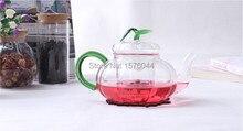 1 STÜCK Neue ankunft hohe qualität hochtemperaturbeständige glas teekanne mit grünem griff G0122