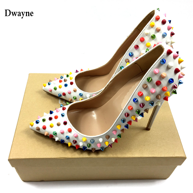 Brand Patent leather shoes Women Pumps Sexy Pointed Toe High Heels Wedding Shoes party shoes Colored Studded Heels with box 2016 hot sale fashion women wallets 6 colors matte pu leather zipper soft wallet ladies long clutch purse phone bag card holder