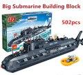 Сверхмаксимальном 502 шт. nano подводная лодка строительный блок игрушки головоломки обучающие военная серия строительство игрушки подарок для мальчиков детей
