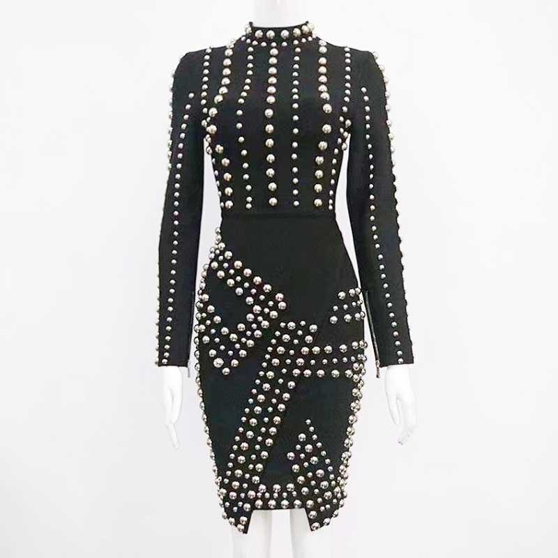 Femme Cocktail De Luxe Robe Nouvelle Manches Bandagel2102Noir Longues Perles Noir Mode Casual bourgogne Gros UMVpqGSz
