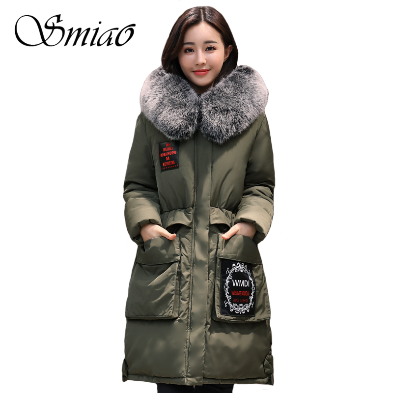 Smiao 2017 Large Fur Collar Long Plus Size Ladies Coats Winter Jacket Women Parka Thick Warm Outwear Womens Coats And Jackets