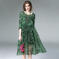 2017 Korean Female Silk Dresses Summer Elegant Loose Casual Long Floral Dress Pleated Vintage Chiffon Dress