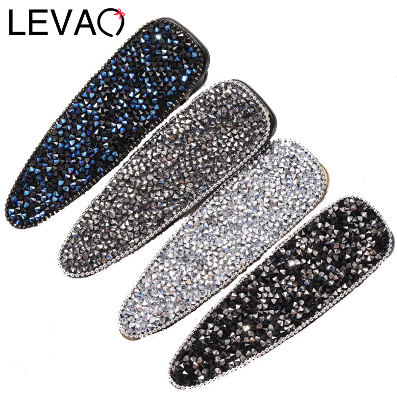 LEVAO 1PC Crystal Shining Hairpin Solid Colors Hair Clips Hair Ornaments Barrettes Hair Accessories For Women Girls Headdress