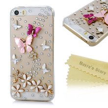 Handmade Crystal Butterfly Lingers Over The Flower Rhinestone Diamond Bling Clear Hard Case for iPhone4S 5S 5C 6/6 PLUS 7/7 PLUS
