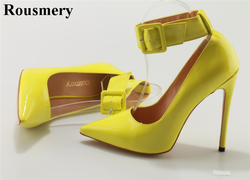 Women Fashion Design Pointed Toe Yellow Patent Leather Pumps Ankle Strap Buckle High Heels Formal Dress Shoes Wedding Shoes women pumps flock high heels shoes woman fashion 2017 summer leather casual shoes ladies pointed toe buckle strap high quality