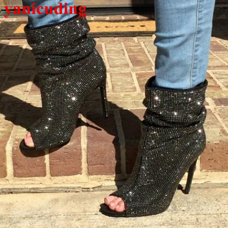 Peep Toe Crystal Embellished Spring Autumn Boots High Thin Heel Super Star Runway Shoes Luxury Brand Party Dress Short Booties crystal embellished metal toe women sock boots short booties low heel mid calf boots luxury brand star runway winter warm shoes