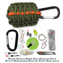 Outdoor EDC Paracord Survival Kit Emergency Gear for Camping Hunting Black/Green Useful New SOS Tools