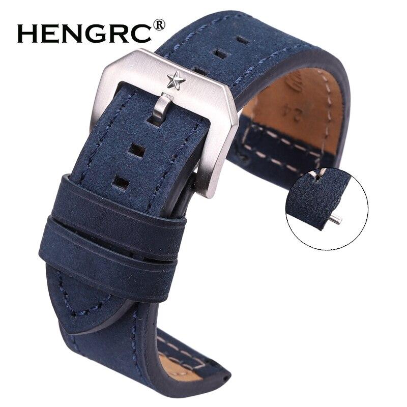 24mm Cowhide Watchband Black Brown Gray Blue Women Men Genuine Leather Watch Strap Bracelet Watch Accessories Pentagram Buckle