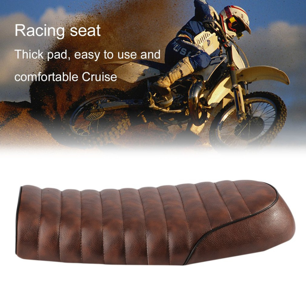 Universal Seat Covers Cafe Racer Seat Made of Waterproof Leather Padded with Sponge Universal for Honda CG Series Motorcycle 32016 hot cafe racer flat seat retro vintage locomotive refit motorcycle leather black a cover high quality waterproof