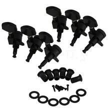 Yibuy 6L Big Square Head Guitar String Tuning Keys Pegs Black Nickel Plating Set of 6
