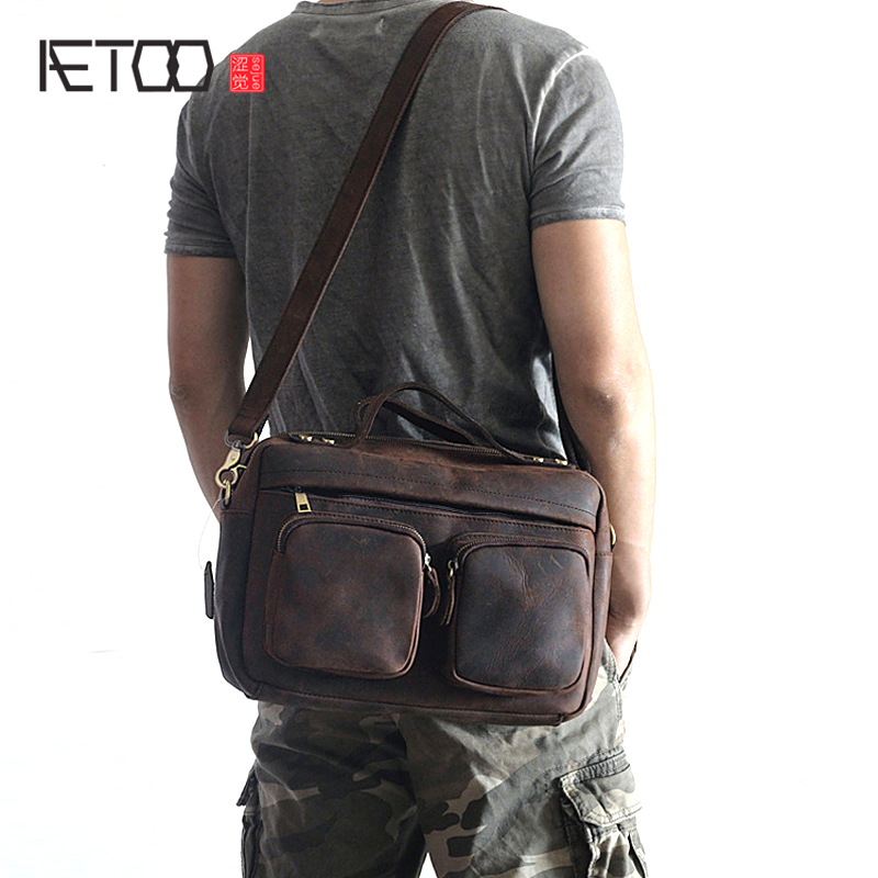 AETOO Explosion-proof leather mens bag horizontal style retro crazy horse leisure package multi-functional mens shoulder MesseAETOO Explosion-proof leather mens bag horizontal style retro crazy horse leisure package multi-functional mens shoulder Messe