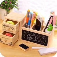Hot Sale Wooden Pen Holder With Blackboard Cute Desktop Pencil Holder Desk Tidy Organizer Pen Pot