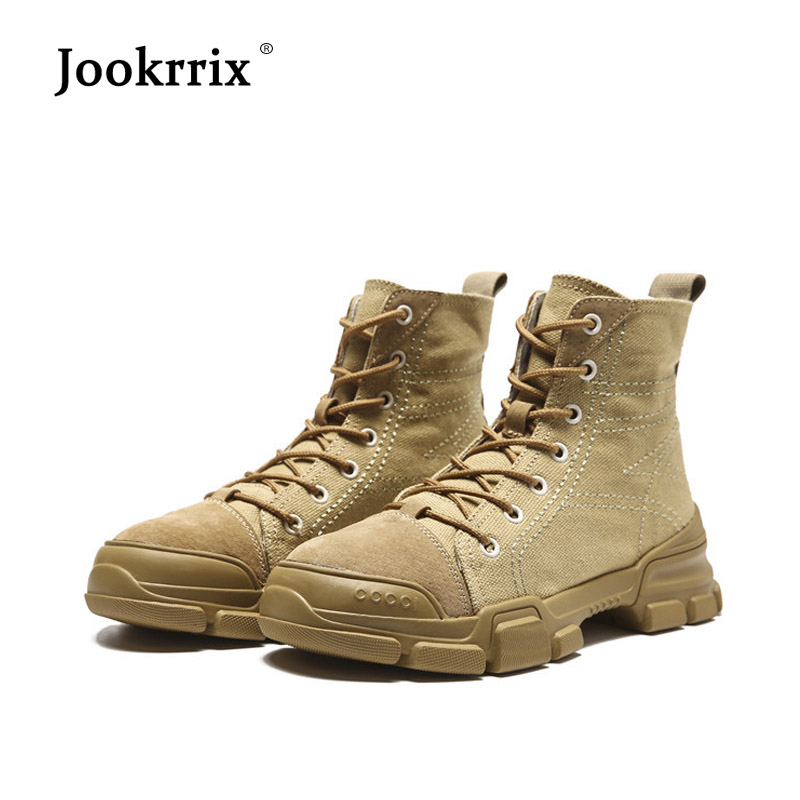 Jookrrix New Canvas Shoes Women Fashion Brand Martin Boots Real Leather Lady chaussure Autumn Female footware Ankle Boots Khaki