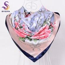 [BYSIFA] Китайский шелковый шарф, шаль для женщин,, зима, пион, цепь, дизайн, большие квадратные шарфы, палантины, весна-осень, головные шарфы