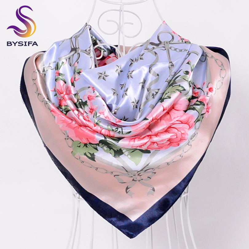 [BYSIFA] China Silk Scarf Shawl For Women 2016 Winter Peony Chain Design Large Square Scarves Wraps Spring Autumn Head Scarves