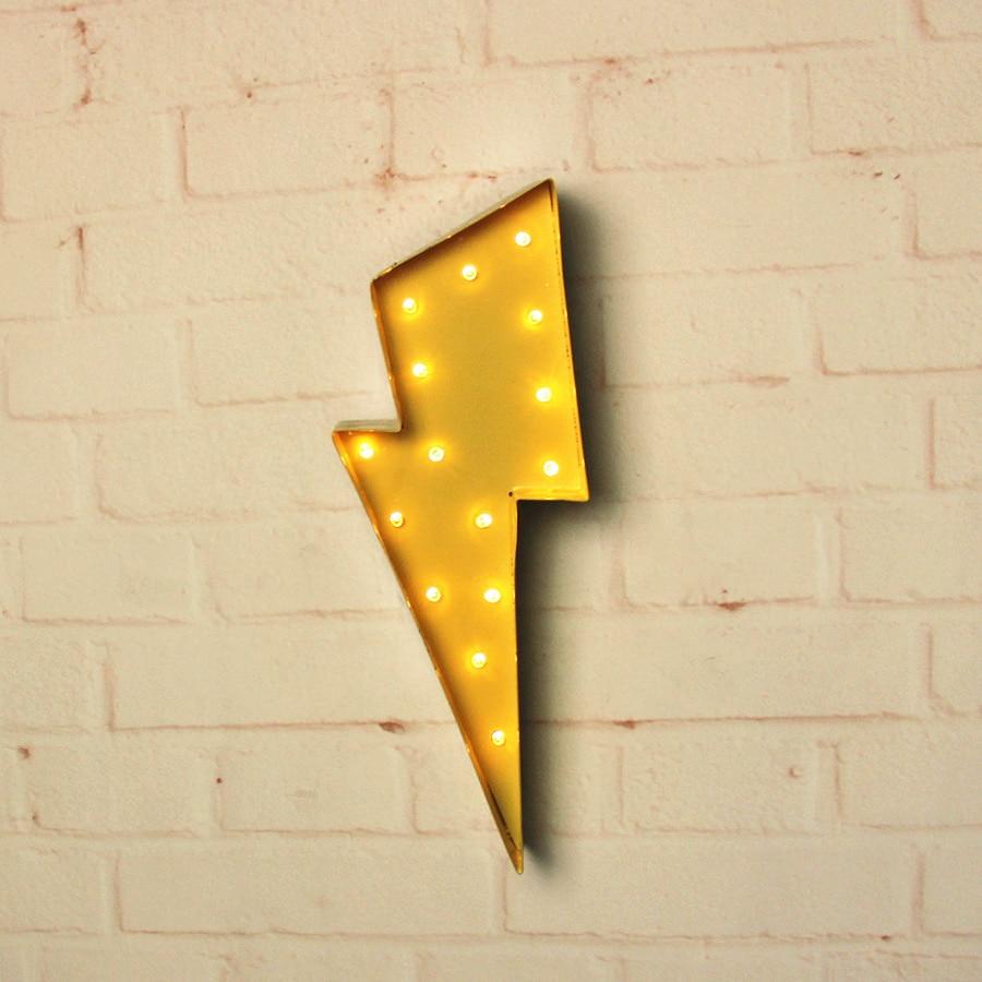 Rayon de foudre en métal blanc Signe de chapiteau LED LIGHT UP - Veilleuses - Photo 4