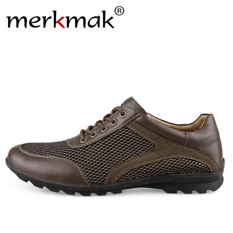 Merkmak Genuine Leather Men Fashion Sneakers Breathable Mesh Shoes Casual Summer Driving Loafers Large Size 39-47 branded men s penny loafes casual men s full grain leather emboss crocodile boat shoes slip on breathable moccasin driving shoes