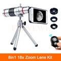 Teléfono Kit 18x Zoom Telescopio Teleobjetivo Lentes Lentes + Trípode + Fisheye Gran Angular lente macro para samsung s4 s5 s6 s7 edge note 4