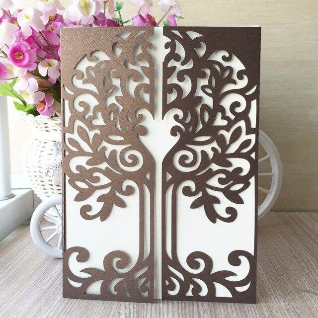 100pcs Very Hot Love Tree Wedding Invitation Card Birthday Greeting Cards Gift Box Laser Cut