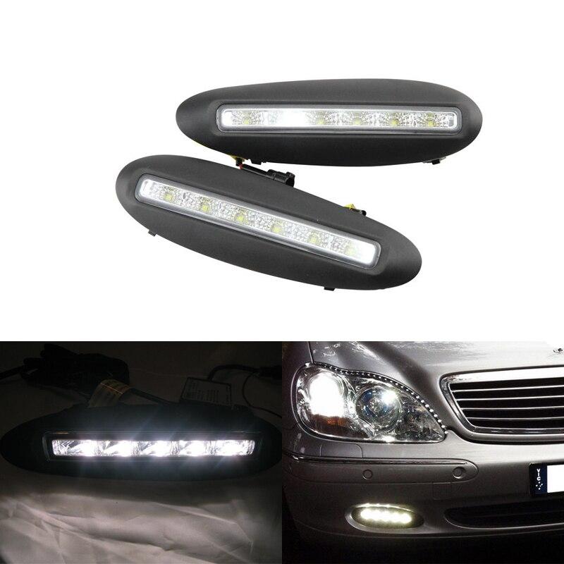 Один комплект автомобиль конкретных DRL светодиодные фары дневного света для Benz W220 Мерседес S класса до рестайлинг 98-01 светодиодные дневного света Противотуманные фары 12 В постоянного тока