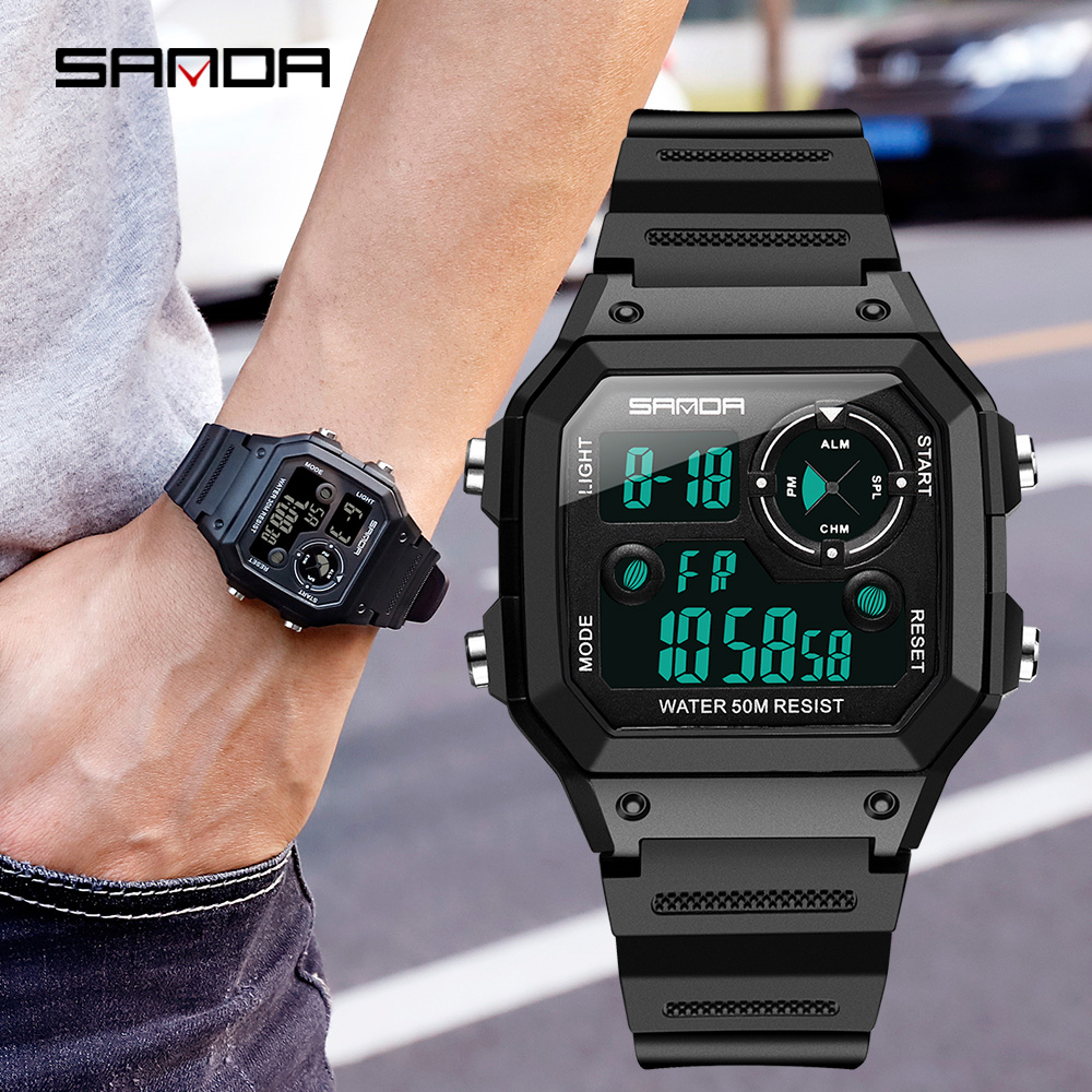SANDA Brand Men Sports Watches Fashion Chronos Countdown Mens Waterproof LED Digital Watch Man Military Clock Relogio MasculinoDigital Watches   -