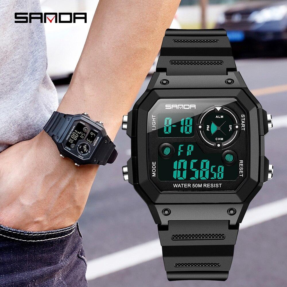 Sanda marca relógios de esportes masculinos moda cronos contagem regressiva à prova dwaterproof água led relógio digital homem militar relógio relogio masculino
