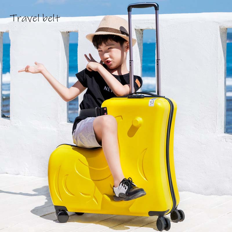 Wheels Spinner Travel-Bags Can-Sit-Slide-Suitcase Rolling-Luggage Kids Children High-Quality