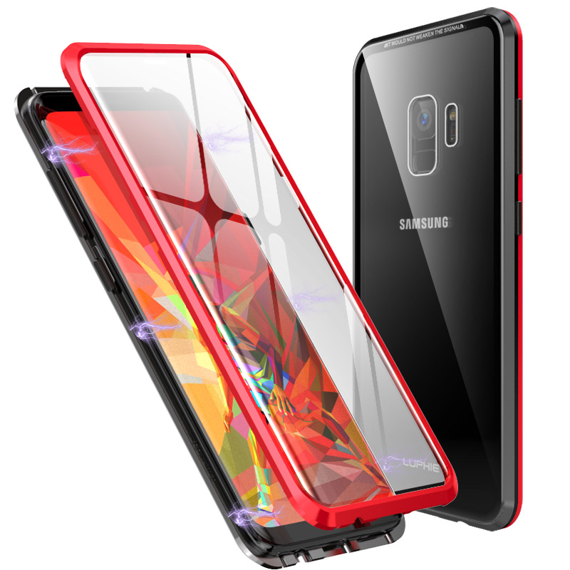 Double sided glass Magnetic case for Samsung Galaxy Note 9 Luxury metal 360 degree Full protection cover for Samsung S9 Plus s9 in Fitted Cases from Cellphones Telecommunications